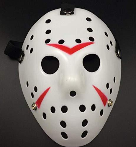 Wbdd Maske Stilvolle Jason Voorhees Freitag Der 13. Horror Hockey Maske Beängstigend Halloween Maske schwarz (Voorhees Jason Gesicht)