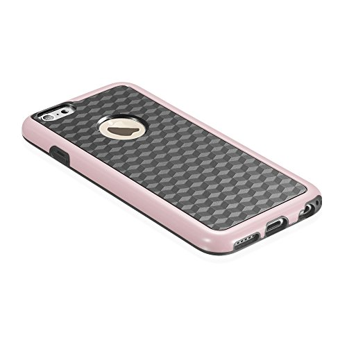 """Fosmon DURA-HOLOGRAM Stereoscopic Wall 2 in 1 TPU + PC Case for Apple iPhone 6/6S (4.7"""") - Blue (PC Frame) / Black (TPU) rose"""