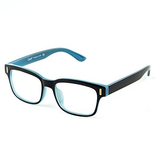 Cyxus Blau Licht Filtering Brille Gegen Augenbelastung Besser Schlafen [Klare Linsen] (Schwarzer Rahmen) Das Blau innen (Brillen ohne Grad)