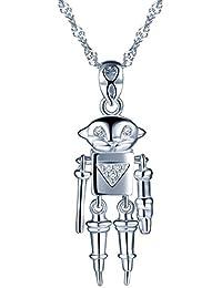 73bd689ef5cf sixluo Robot colgante 925 plata de ley Circonita Cadena Collar mejor regalo  para las mujeres hombres niños…