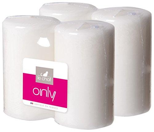 le-chat-1200504-2-lots-de-2-bougies-blanches-non-parfumees