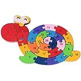 Kotiger Bloc de bois Jouets Escargot en forme de lettres de l'alphabet Digital puzzle Illumination Early Education