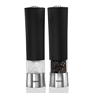 Tower Electric Salt and Pepper Set with Light, Stainless Steel, Black