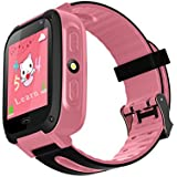 TDH Niños Inteligente Relojes, GPS Kids SmartWatch con Camara, Flash luz, SOS, nocturna pantalla táctil, Reloj Inteligente Anti - Lost Smart tracker Pulsera Compatible para iPhone Android, rosa