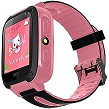TDH Niños Inteligente Relojes, GPS Kids SmartWatch con Camara, Flash luz, SOS, nocturna pantalla táctil, Reloj Inteligente Anti - Lost Smart tracker Pulsera Compatible para iPhone Android, rosa