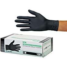 Nitrilhandschuhe 100 Stück Box (M, Schwarz) Einweghandschuhe, Einmalhandschuhe, Untersuchungshandschuhe, Nitril Handschuhe, puderfrei, ohne Latex, unsteril, latexfrei, disposible gloves, black, Medium