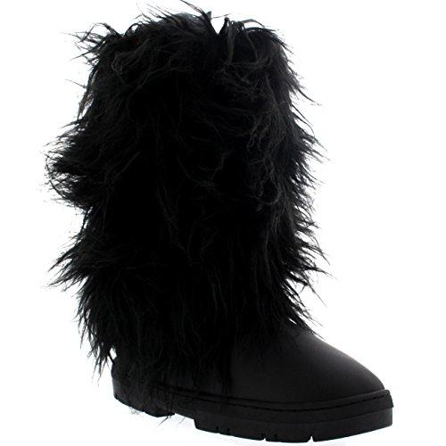 Holly Damen Long Fur Covered Regen Pelz Gefüttert Winter Warm Tall Schnee Stiefel - Schwarz Leder - BLL40 AEA0380 - Warme Stiefel Schnee
