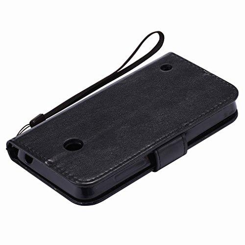Custodia Microsoft Lumia 635 Cover Case, Ougger Fortunato Foglia Stampa Portafoglio PU Pelle Magnetico Stand Morbido Silicone Flip Bumper Protettivo Gomma Shell Borsa Custodie con Slot per Schede (Ros Nero