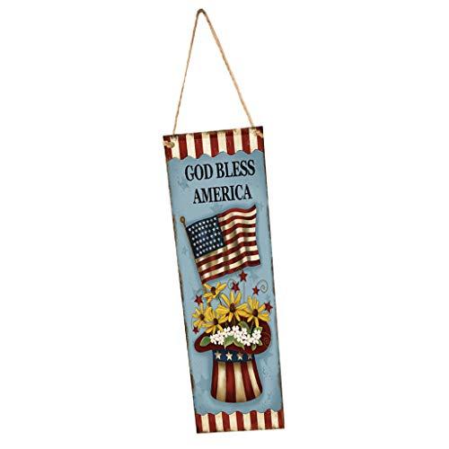 F Fityle Amerika Flagge Muster Holz Hängende Schild Plakette Dekoration mit Seil für 4. Juli Unabhängigkeitstag - Stil 1 (1 4 Seil)