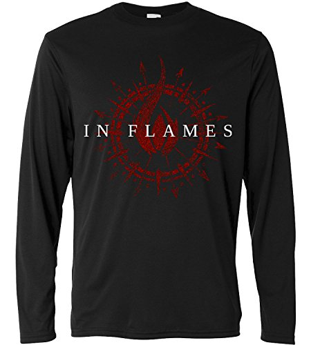 T-shirt a manica lunga Uomo - In Flames - Circle logo- Long Sleeve 100% cotone LaMAGLIERIA, XL, Nero