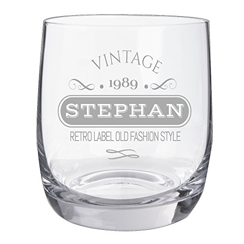 "Personello Whiskyglas mit Gravur, Motiv Vintage, Name / Jahr personalisiert, graviertes Whiskyglas ""Tumbler"""
