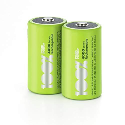 100% PeakPower Akkus D/Mono, NiMH Akku-Batterien mit LSD Technologie, Ready2Use, bereits vorgeladen, Typ Monozelle HR20 wiederaufladbar, Kapazität 4000mAh, 1,2V (1,2 Volt) (2 Stück)