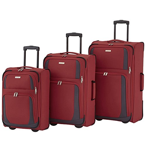 Travelite Set de bagage 'Rocco' 3 pcs bordeaux/gris Koffer-Set, 71 cm, 86 liters, Mehrfarbig (Bordeaux/gris)