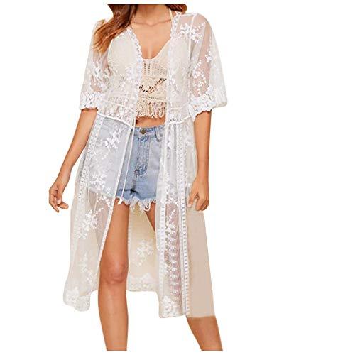 AmyGline Damen Spitzen Bluse Tops Strand Badeanzug Bedecken Pareos Kimono Bikini Cover up/Spitze Perspektivische Strickjacke/Strand Sonnencreme Bluse/Lace Strandkleid (Weiß-B, M) -