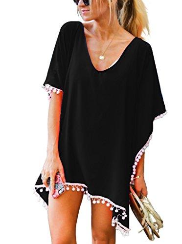 Damen Strandponcho Sommer Überwurf Kaftan Strandkleid Bikini Cover Up Freie Größe Schwarz