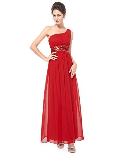 Ever Pretty Robe de soirée avec une épaule de style Empire et la ceinture en paillettes 09770 Vermillon