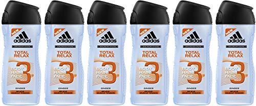 adidas Total Relax Duschgel für Herren 3-in-1, Erfrischende Reinigung von Körper, 6er Pack (6 x 250 ml)