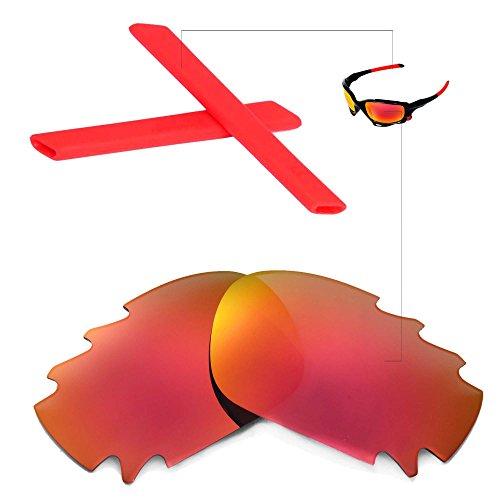 Walleva Vented Wechselgläser Und Earsocks für Oakley Racing Jacket Sonnenbrille - Mehrfache Optionen (Feuerrot Polarisierte Linsen + Roter Gummi)