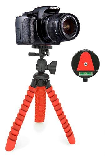 MyGadget Dreibein Kamera Stativ [Klein & Flexibel] Universal Tripod mit Kugelkopf - Gelenke Kamerastativ für z.B. Canon, Nokia, Sony - Schwarz/Rot