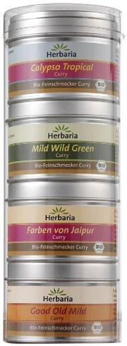 Preisvergleich Produktbild Herbaria Curry mild Spezialitäten Set - Probier- und Geschenkset aus vier milden Bio-Feinschmecker Curry Spezialitäten,  1er Pack (4x25g Dosen) - Bio