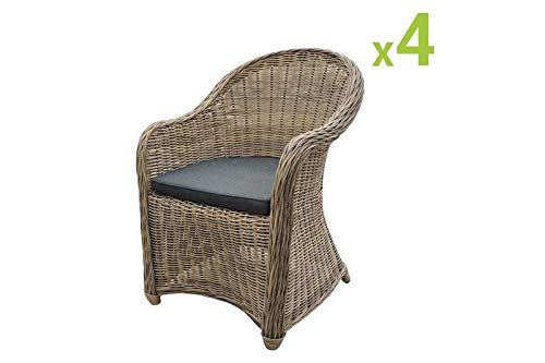 Au jardin de Chloé -Lot de 4 fauteuils de Jardin en résine tressée Ronde Collection Prestige - CLEA - Osier Naturel