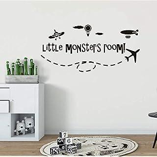 Luzhenyi Boys Room Decor Aircraft Hot Air Balloon Vinyl Wall Sticker Little Monsters Room Wall Decal Kids Room Airplane Murals 88X42Cm
