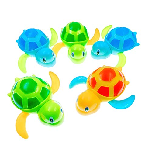 JZK 5 x Kunststoff Schildkröte Badespielzeug Baby Spielzeug Wasserspielzeug Badewannenspielzeug für Kinder Party Mitgebsel Geburtstag Geschenk