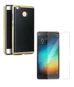 Mobimax iPaky Premium TPU+PC Hybird Armor Protective Back Bumper Case Cover for Xiaomi RedMi 3sPrime-Gold With Tempered Glass