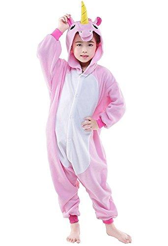 DarkCom Kinder Einhorn-Onesies Cartoon Pyjamas Nachtwäsche Halloween Kigurumi Cosplay Kostüme Rosa