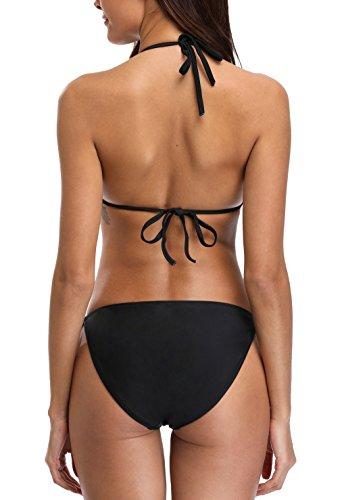 Charmo Damen Triangle Bikini Mit Schalen Bandeau Bademode Swimsuit Classic Unifarben Bikini Set Schwarz