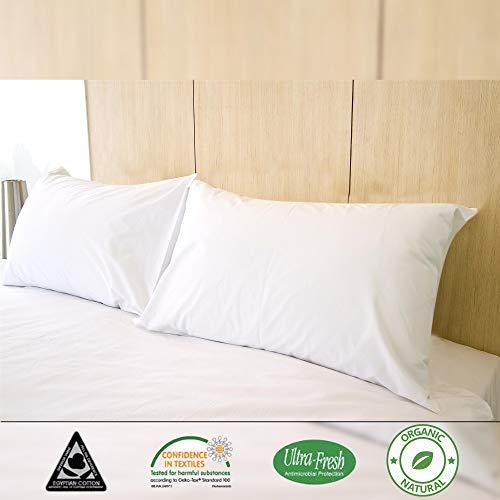 Kensingtons Luxus Maulbeerseide gefüllte Kissen, Hypoallergen 400 TC, Bezug ägyptische Baumwolle, Hotelqualität, Standard-Kissen, 48 x 74 cm, Maulbeerseide, weiß, 2 X Pillow (100% Mulberry Silk) -