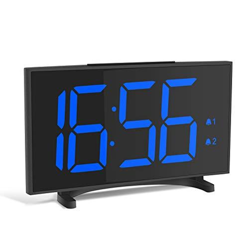 Yissvic Digital Wecker Uhr Tischuhr 12/24H Dual Alarm Easy Snooze 6 Einstellbare Helligkeit ultradünn mit 6,5 Zoll LED Display mit USB-Ladeanschluss ohne Adapter (Verpackung MEHRWEG) (Digitale Tischuhr)