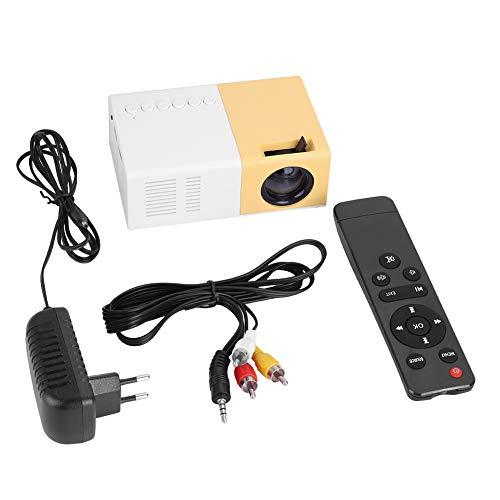 Mini Beamer, Tragbarer Projektor Unterstützt 1080P HD-Anzeige 1500lm High Brightness Unterstützt HDMI-, AV-, VGA-, USB- und Micro-SD-Eingänge(EU)