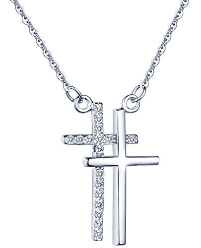 Yumi Lok in argento Sterling 925, con zirconi Voss. farming doppia Croci ciondolo collana catena con pendente per donna