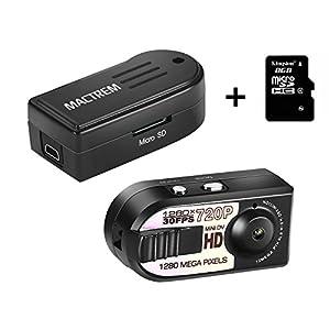 camaras de video pequeñas baratas: Mactrem - Mini DV Videocámara 1280x720P de la Cámara Espía de Seguridad Grabador...
