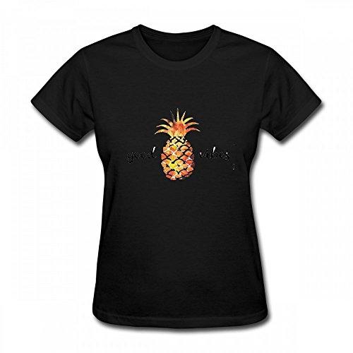 T Shirt For Women - Design The Pineapple Good Vibes Shirt Black