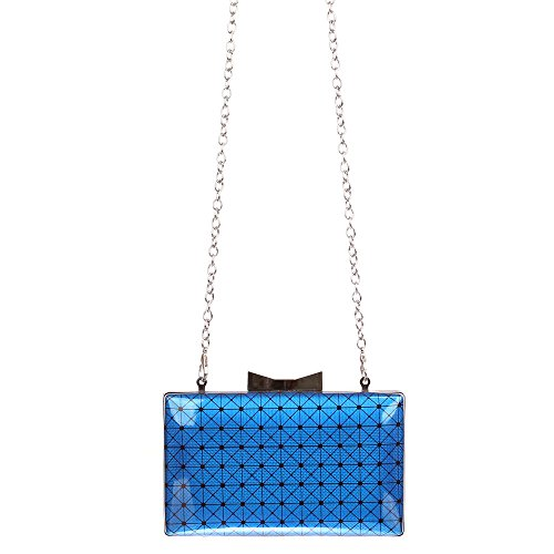 Schuhcity24 Clutch Handtasche mit Umhängekette Blau