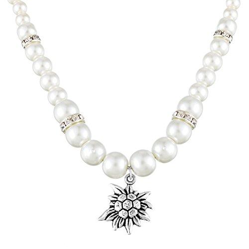 MJARTORIA Damen Kette Edelweiß Perlenkette Weiß Perlen mit Anhänger Charms Oktoberfest Schmuck 50cm