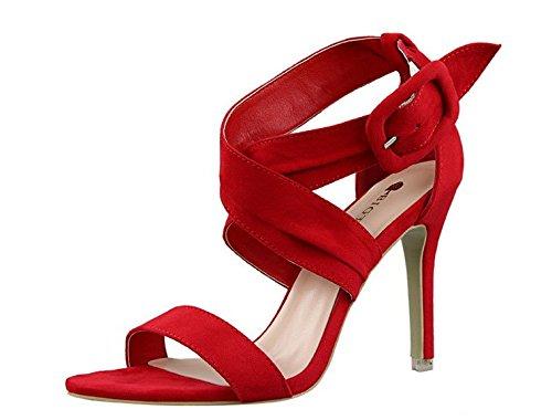 Wealsex Escarpins Sandales Talons Haute Aiguilles Daim Sangles Croisées Boucle Bout Ouvert Sexy Mode Vintage Rouge