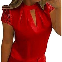 2ad460acf0a2af Blusen Damen Kolylong Frauen Elegant Spitze Kurzarm Bluse Festlich Chiffon  Oberteile Sommer V-Ausschnitt Shirt