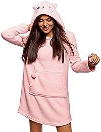 oodji Ultra Mujer Vestido de Estar por Casa de Forro Polar con Capucha