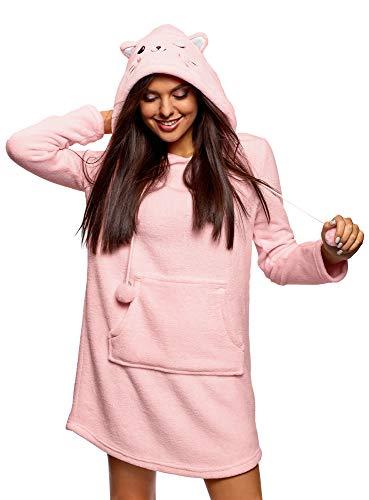 oodji Ultra Damen Fleece-Hauskleid mit Kapuze, Rosa, DE 40 / EU 42 / L