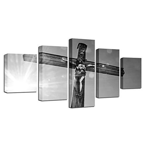 WODES Moderne Wand Kunstdruck Bild Hd Poster Leinwand Malerei 5 Panels Kreuz Jesus Christus Wohnzimmer Wohnkultur 30 * 40 * 2 30 * 60 * 2 30 * 80Cm Kein Rahmen -