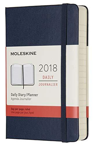 Moleskine - Agenda Giornaliera, 12 Mesi, Tascabile, Copertina Rigida, Blu Zaffiro