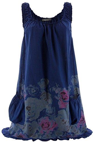 Charleselie94® - Robe tunique été coton - ROSANNA - bohème fleurs Bleu marine Bleu - marine