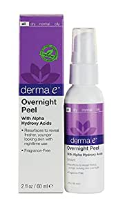 Derma e Evenly Radiant Overnight Peel With Alpha Hydroxy Acids 2 Ounce (60 ml) (Pack of 2)