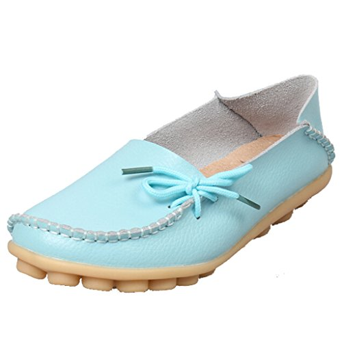 SIMPVALE Damen Mokassin Leder Loafers Fahren Schuhe Comfort Freizeit Flache Schuhe Sky Blue