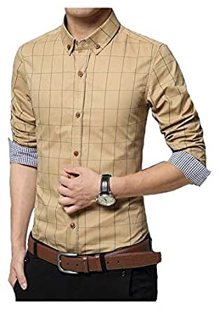 IndoPrimo Men's Cotton Casual Shirt for Men Full Sleeves (Cream, Small - 38)