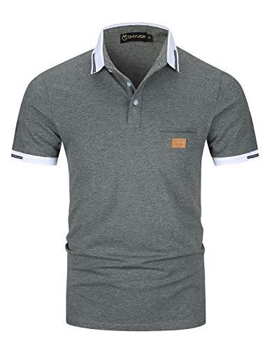 Casual Polos Manga Corta para Hombre Costura en Contraste Escote Camiseta Camisas Verano Primavera Deporte Golf Tennis T-Shirt Oficina,Gris Oscuro,XXL