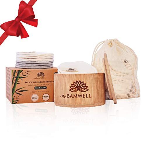 MyBamwell 14er Abschminkpads Waschbar Set aus Bambus-Baumwolle (10 Stück) & Bambus-Frottee (4 Stück) Kleine Geschenke, Zero Waste Ø 8cm-Wiederverwendbare Wattepads + Bambusbox + Wäschesack